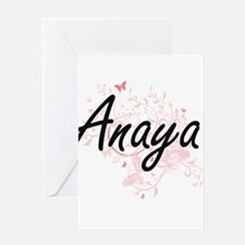 Anaya Artistic Name Design with But Greeting Cards