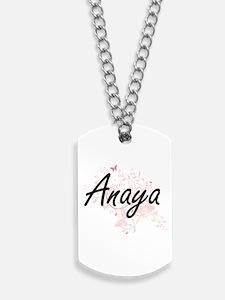 Anaya Artistic Name Design with Butterfli Dog Tags