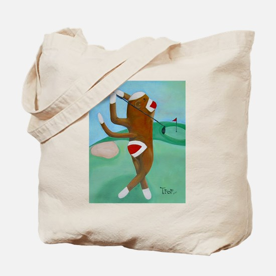 Golf Sock Monkey Tote Bag