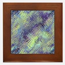 Blue Green Glassy Texture Framed Tile