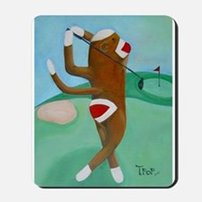 Golf Sock Monkey Mousepad