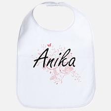 Anika Artistic Name Design with Butterflies Bib