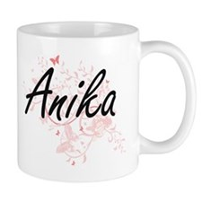 Anika Artistic Name Design with Butterflies Mugs
