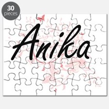 Anika Artistic Name Design with Butterflies Puzzle