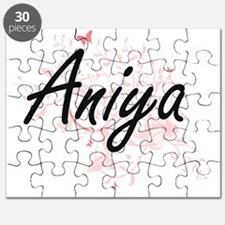 Aniya Artistic Name Design with Butterflies Puzzle