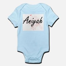 Aniyah Artistic Name Design with Butterf Body Suit