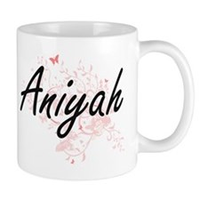 Aniyah Artistic Name Design with Butterflies Mugs