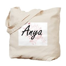Anya Artistic Name Design with Butterflie Tote Bag