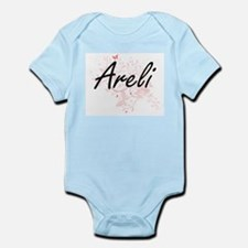 Areli Artistic Name Design with Butterfl Body Suit