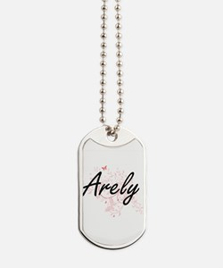 Arely Artistic Name Design with Butterfli Dog Tags