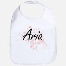 Aria Artistic Name Design with Butterflies Bib