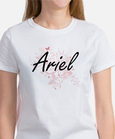 Ariel Artistic Name Design with Butterflie T-Shirt
