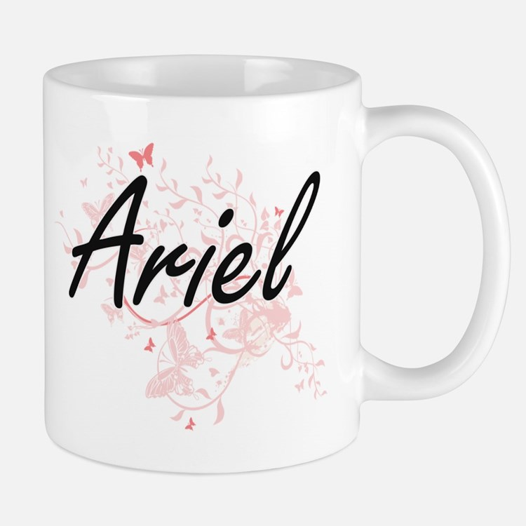 Ariel Artistic Name Design with Butterflies Mugs