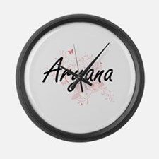 Aryana Artistic Name Design with Large Wall Clock