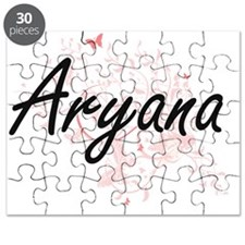 Aryana Artistic Name Design with Butterflie Puzzle
