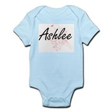 Ashlee Artistic Name Design with Butterf Body Suit