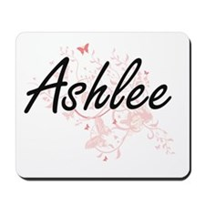 Ashlee Artistic Name Design with Butterf Mousepad