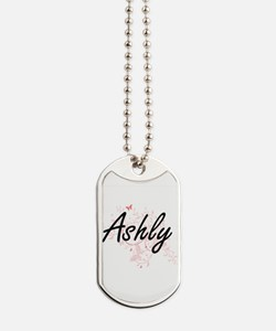 Ashly Artistic Name Design with Butterfli Dog Tags