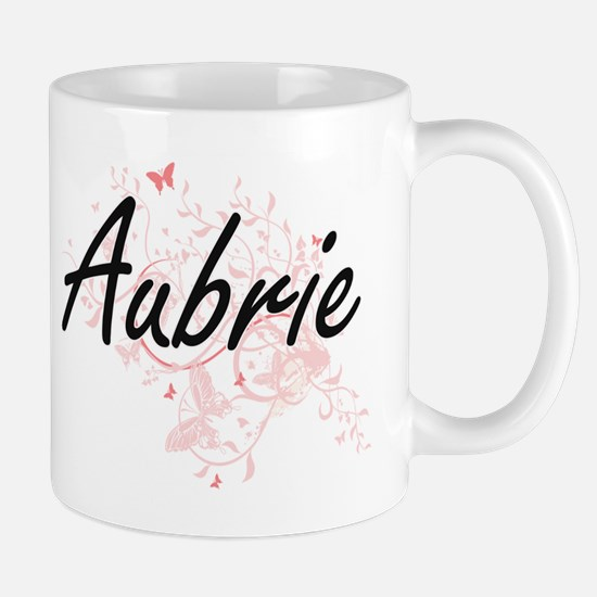 Aubrie Artistic Name Design with Butterflies Mugs
