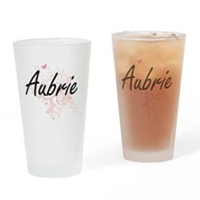 Aubrie Artistic Name Design with Bu Drinking Glass