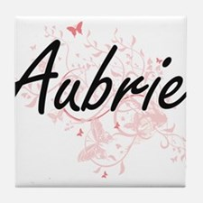 Aubrie Artistic Name Design with Butt Tile Coaster