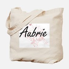 Aubrie Artistic Name Design with Butterfl Tote Bag