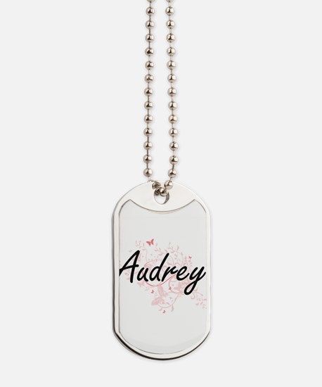 Audrey Artistic Name Design with Butterfl Dog Tags