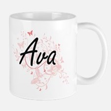Ava Artistic Name Design with Butterflies Mugs