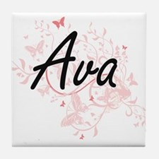 Ava Artistic Name Design with Butterf Tile Coaster