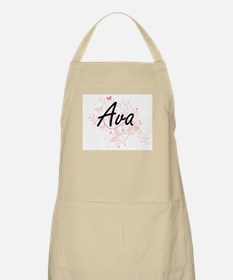 Ava Artistic Name Design with Butterflies Apron