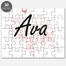 Ava Artistic Name Design with Butterflies Puzzle