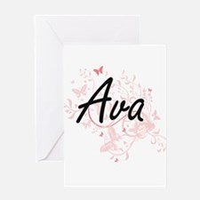 Ava Artistic Name Design with Butte Greeting Cards