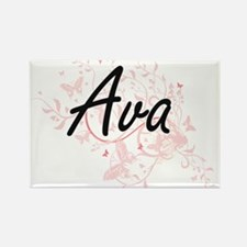 Ava Artistic Name Design with Butterflies Magnets