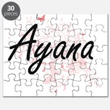 Ayana Artistic Name Design with Butterflies Puzzle