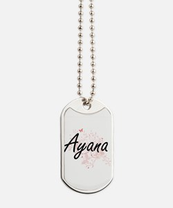 Ayana Artistic Name Design with Butterfli Dog Tags