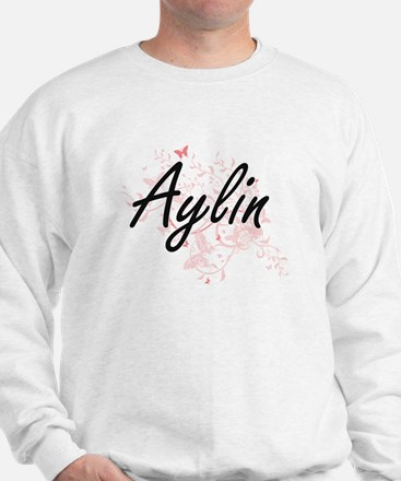 Aylin Artistic Name Design with Butterf Sweater