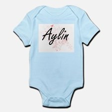 Aylin Artistic Name Design with Butterfl Body Suit