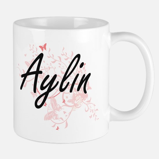 Aylin Artistic Name Design with Butterflies Mugs