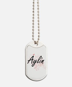 Aylin Artistic Name Design with Butterfli Dog Tags