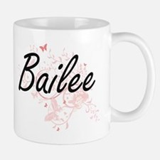 Bailee Artistic Name Design with Butterflies Mugs