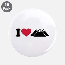 "I love mountains 3.5"" Button (10 pack)"