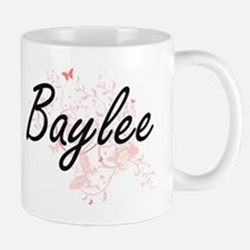 Baylee Artistic Name Design with Butterflies Mugs