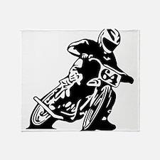 Flat Track One Black Bike Throw Blanket