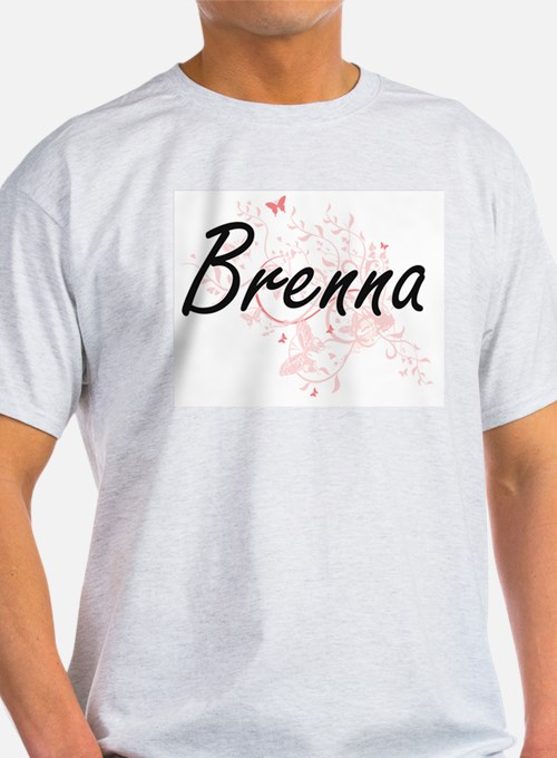 Brenna Artistic Name Design with Butterfli T-Shirt