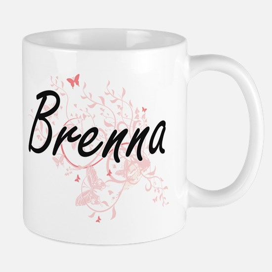 Brenna Artistic Name Design with Butterflies Mugs