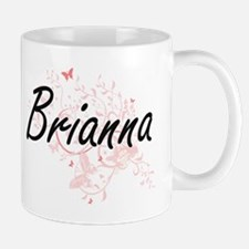 Brianna Artistic Name Design with Butterflies Mugs