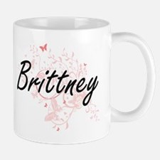 Brittney Artistic Name Design with Butterflie Mugs