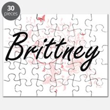 Brittney Artistic Name Design with Butterfl Puzzle