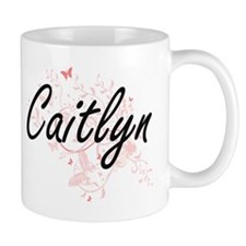Caitlyn Artistic Name Design with Butterflies Mugs