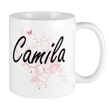 Camila Artistic Name Design with Butterflies Mugs